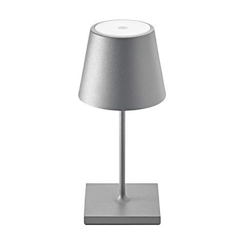 SIGOR Nuindie Mini - Dimmbare LED Akku-Tischlampe Indoor & Outdoor, Höhe 25 cm, aufladbar mit Easy-Connect, 24h Leuchtdauer, Anthrazit