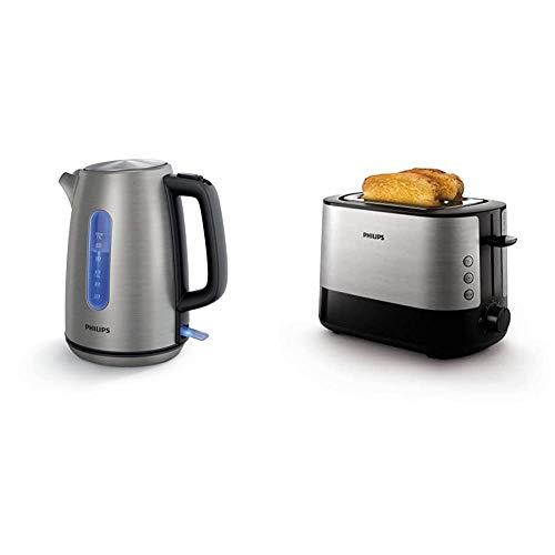 Philips HD9357/10 Wasserkocher, 1,7 L, 2200 W, edelstahl & HD2637/91 Toaster, Kunststoff, Schwarz/Edelstahl