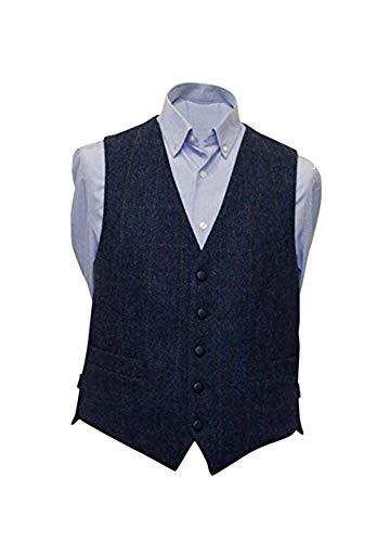 Mucros Men's Irish Tweed Vest Navy Herringbone Wool Full Back Made in Ireland Large