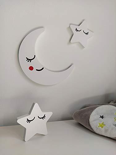 Accesorio decorativo infantil corpóreo. Diseño Luna y estrellas para mueble o pared en interior y exterior.