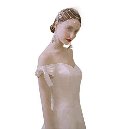 Vestido de Novia de Satén de Hombro de Ensueño Simple para Mujer...