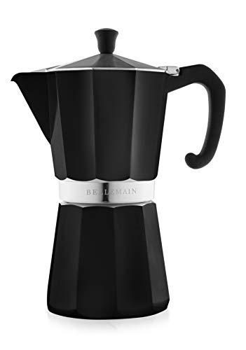 Bellemain Stovetop Espresso Maker Moka Pot (Black, 9 Cup)