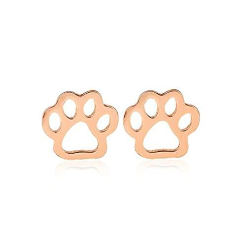 Youkeshan Plata/oro/oro rosa de color hueco cachorro gato huella pendientes para mujeres Bear Palm Pendientes joyería niña (oro rosa)