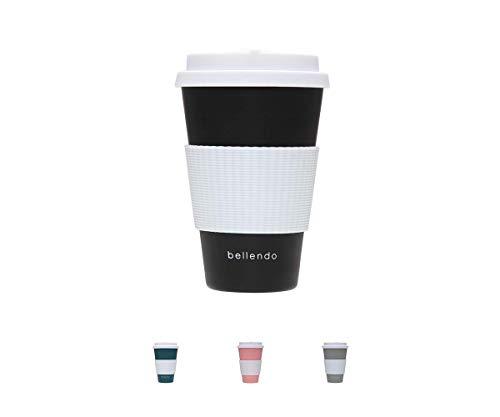 bellendo® Kaffeebecher to go Bambus 400ml - Coffee to go Becher Bamboo für Kaffee & Tee - to go Becher mit Deckel, Griff & Auslaufschutz, schwarz