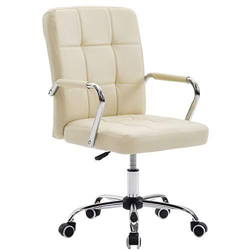 DLMPT In hoogte verstelbare draaikruk stoel draaiende kruk 360 graden draaibaar stoel kruk met 5 wielen draaibare draaistoel voor kantoor schoonheidssalon tatoeage kapper, wit