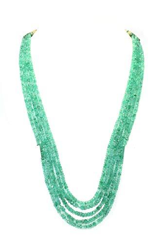 PH - Collar de cadena de 5 líneas con piedras preciosas de berilo natural, 325 quilates