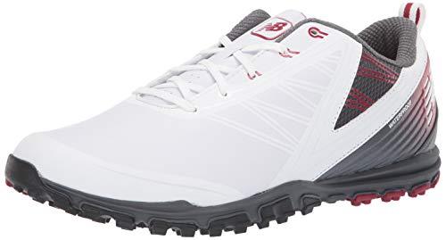New Balance Men's Minimus SL Waterproof Spikeless Comfort Golf Shoe, 7 2E 2E US, white/maroon