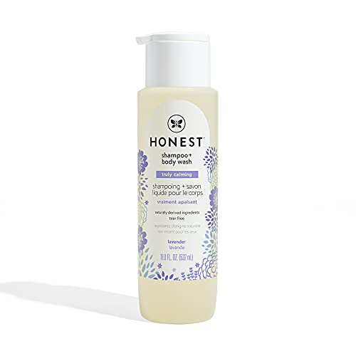 The Honest Company Ultra Dreamy Calming Lavender Shampoo + Body Wash | Tear-Free Baby Shampoo with Naturally Derived Ingredients | Sulfate- & Paraben-Free Baby Bath | 18 Fl Oz (Pack of 1)