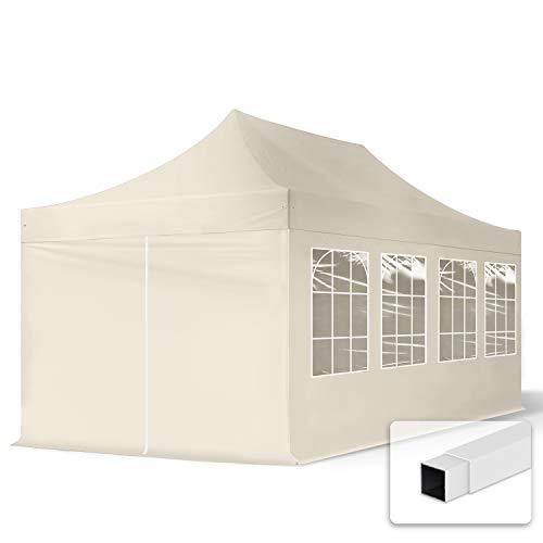 TOOLPORT 3x6m Pavillon Faltpavillon Klappzelt inkl. 4 Seitenteile Stahl Faltzelt Garten Partyzelt Creme