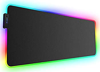 Large RGB Gaming Mouse Pad - Kalafun XXL Extended LED MousePad with Non-Slip Rubber Base Long Soft Light Up Computer Mouse Mat for Laptop  800×300×4mm Black