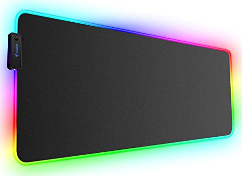 Large RGB Gaming Mouse Pad - Kalafun XXL Extended LED MousePad with Non-Slip Rubber Base, Long Soft Light Up Computer Mouse Mat for Laptop (800×300×4mm, Black)