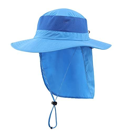 Home Prefer al aire libre UPF50+ sombrero de sol de malla ancha ala pesca sombrero con solapa para el cuello
