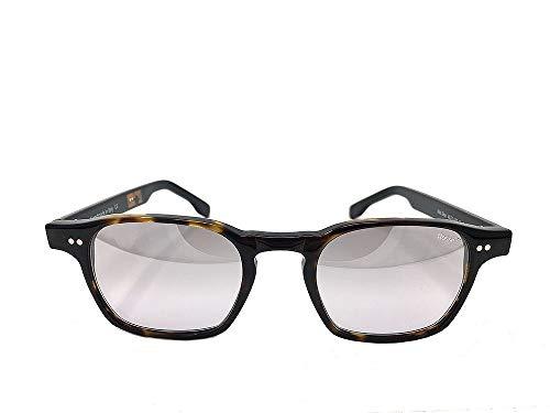 RossoT, Gafas de sol. Lentes de espejo, montura habana y patillas color negro brillante. Con etiqueta descriptiva personalizable. Producto artesanal, Made in Italy