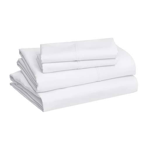 AmazonBasics Lightweight Super Soft Easy Care Microfiber Bed Sheet Set with 16' Deep Pockets - King, Bright White