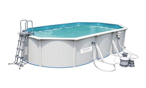 Hydrium Pool Set oval, mit Sandfilteranlage, Oberflächenskimmer, Leiter und Bodenplane, 610x360x120 cm, weiß