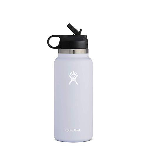 Hydro Flask Water Bottle - Wide Mouth Straw Lid 2.0-32 oz, Fog