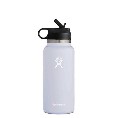Hydro Flask Water Bottle - Wide Mouth Straw Lid 2.0-32 oz, Fog