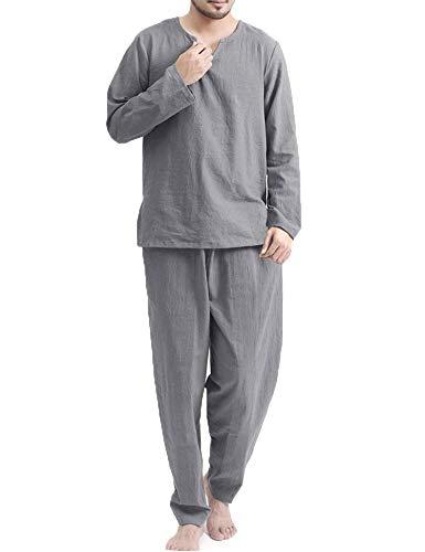 COOFANDY Men's 2 Pieces Cotton Linen Hippie T Shirt and Pants Casual Long Sleeve Jogger Yoga Top Sleepwear Pajamas Set Grey