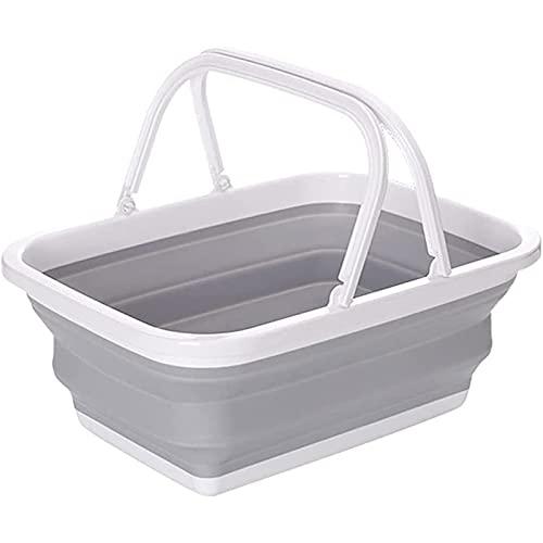 ZLZNX Cesta de lavandería Plegable de plástico con 2 manijas, Contenedor de Almacenamiento emergente Plegable, Tina de Lavado portátil, Cesta de Ahorro de Espacio