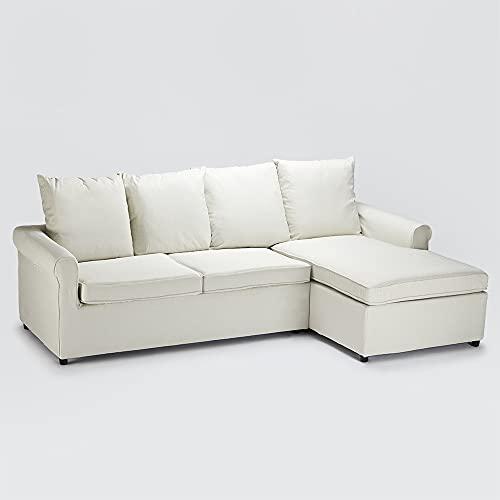 Divano Letto Con Penisola Angolo 2 Posti Sfoderabile Moderno Lapislazzuli Plus Bianco