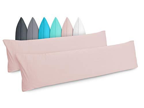 Doppelpack - Kissenbezüge aus Jersey-Baumwolle - Moderne Kissenhüllen in unifarbenem Design - in 6 modernen Farben und 4 Größen, ca. 40 x 145 cm, Altrosa