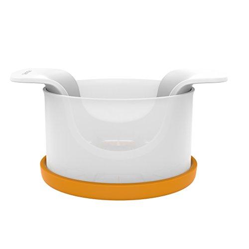 Fiskars Coupe-pomme avec récipient, 16,4 x 12,7 x 7,8 cm, Plastique/Acier, Functional Form, Blanc/Orange, 1016132