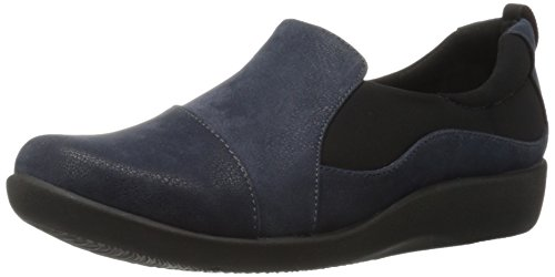 Clarks Women's CloudSteppers Sillian Paz Slip-On Loafer, Navy Synthetic Nubuck, 7 M US