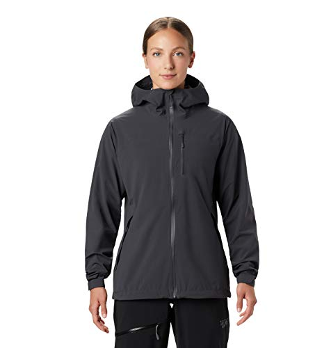 Mountain Hardwear Women's Stretch Ozonic Jacket Waterproof Breathable for Hiking, Backpacking, and Everyday - Dark Storm - Large