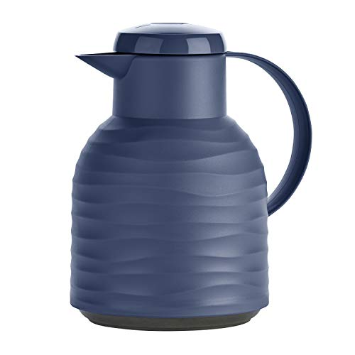 Emsa N4011000 Samba Wave Isolierkanne 1,0 Liter navy Quick-Press Kunststoff, Glas-Isolierkolben, Kaffeekanne: 12h heiß/24h kalt, made in Germany, 100 % dicht, navy