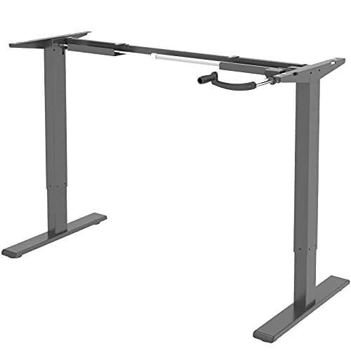 Flexispot H1S Höhenverstellbarer Schreibtisch Kurbelverstellbares Tischgestell, Passt für Alle Gängigen Tischplatten (Grau, Maximale Belastung: 70 KG.)