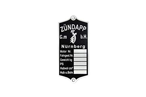 Typenschild für Zündapp DB 200, 201, 202, 203