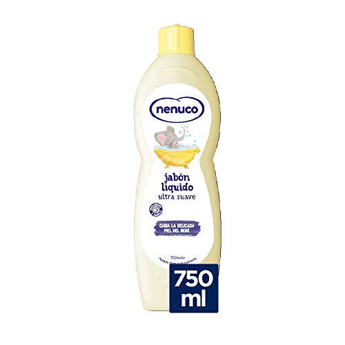 Nenuco - Jabón Líquido Ultra Suave de Bebé con y Vitamina E, Para Cuerpo y Cabello, Negro, Aloe Vera, 750 Mililitros