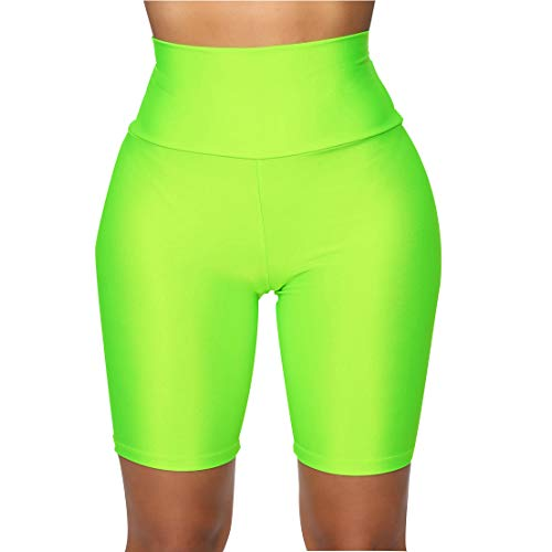 FeMereina Mujer Pantalones Cortos de Motociclista Elásticos Ajustados, Neón Brillante de Cintura Alta Pantalones Cortos Calientes Atractivos Leggings Active Gym Workout Yoga (A Verde, S)