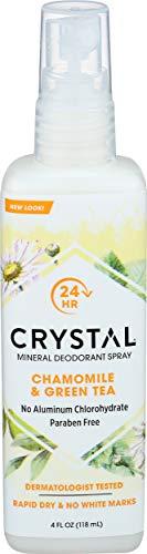 Crystal Body Deodorant - Crystal Essence Mineral Deodorant Body Spray By French Transit Chamomile & Green Tea - 4 oz.