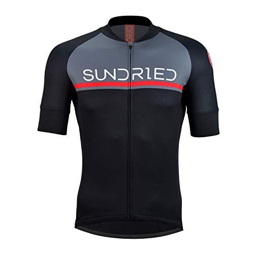 Sundried Mens Short Sleeve Cycling Jersey Road Bike Cycling Top Mountain Bike Shirt (Black, S)