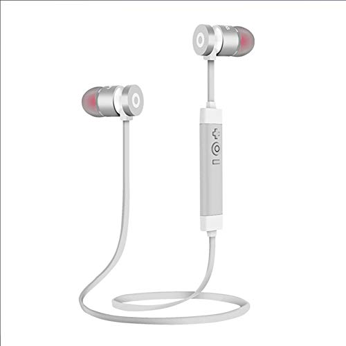 Xyxiaolun Bluetooth-Funkkopfhörer Wasserdicht, Kopfhörer Stereo Schnelles Pairing Ergonomische Passform mit integriertem Mikrofon Magnetische Passform für das Laufen im Fitnessstudio,Silver