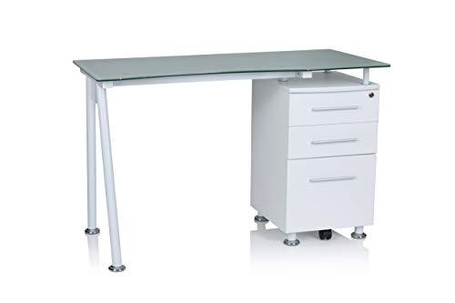 hjh OFFICE 679907 Schreibtisch mit Glasplatte 120 x 60 Nero I Weiß Büro Computertisch mit Stauraum, Schubladen abschließbar