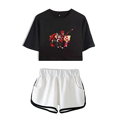 BBCS Hazbin Top Shorts Sport Hotel Charlie Anzug Damen Sets Shorts Shirt Mädchen Angel Hazbin Cosplay Hotel Kostüm Vaggie Outfit