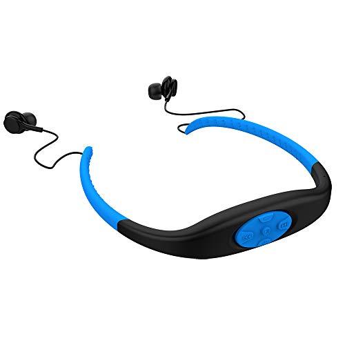 Wasserdichter MP3-Headset-Musikplayer, 8-GB-Speicher-HiFi-Stereoanlage, UKW-Radio, Bluetooth-Kopfhörer zum Schwimmen, Surfen, Laufen, Sport, preisgekröntes Design (Schwarz)