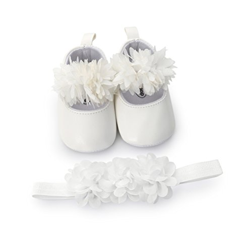 EDOTON Baby Mädchen Blume Schuhe mit Haarband Anti-Rutsch-Weiche Taufe Prinzessin Lauflernschuhe Sneaker für Kleinkind size 5(12-15 Monate, Weiß)