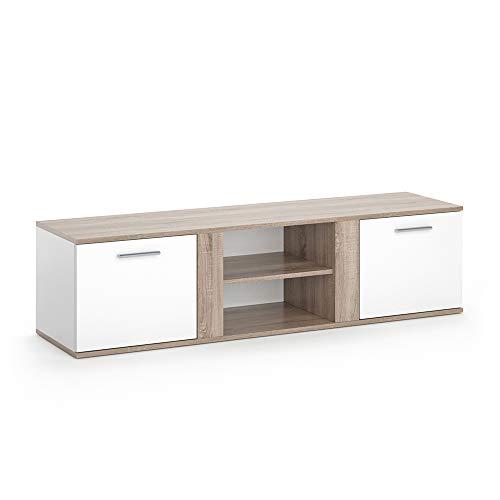 Vicco TV Lowboard NOVELLI Sideboard Weiß Fernsehschrank Fernsehtisch erhältlich in 3 Dekoren (Weiß/Sonoma)