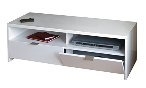 Berlioz Creations Banco / Edison Meuble TV, Blanc brillant, 110 x 41 x 38 cm, Fabrication 100% Française