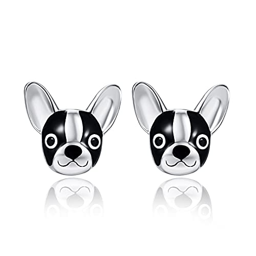 Pendientes de carlino negros de plata de ley 925 con diseño de bulldog francés, regalo de cumpleaños para niñas