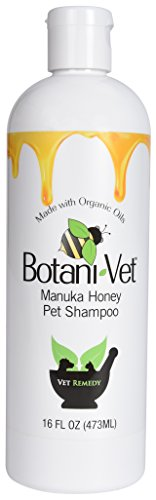 BotaniVet Certified Organic Manuka Honey Pet Shampoo 16 Oz - 100% Natural Ingredients - Veterinary Dermatologist Formulated for Allergies and Itching