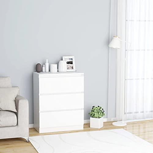 vidaXL Sideboard mit 3 Schubladen Kommode Anrichte Schrank Schubladenschrank Mehrzweckschrank Standschrank Weiß 60x35x76cm Spanplatte
