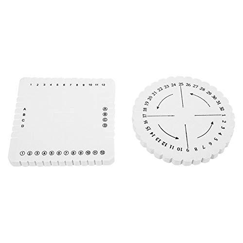 2Pcs Cuadrado redondo Kumihimo Disco Encaje Pulsera trenzada Tejido para artesanías Placa blanca(redondo y cuadrado)