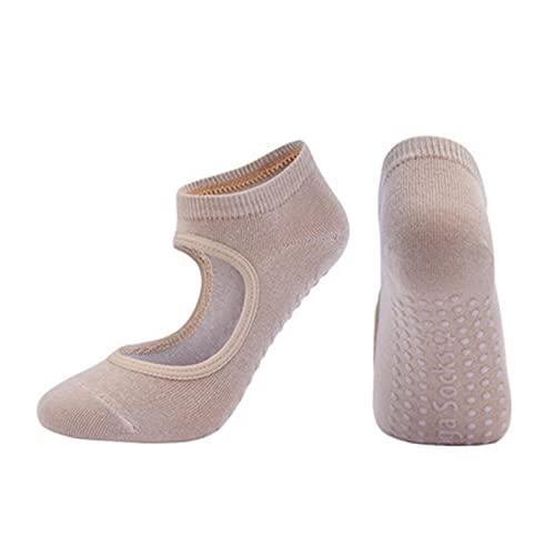 RHoet Mujeres Pilates Calcetines Antideslizantes Transpirables sin Respaldo Calcetines de Yoga Ballet Ballet Dance Sports Calcetines para la Aptitud (Color : Beige