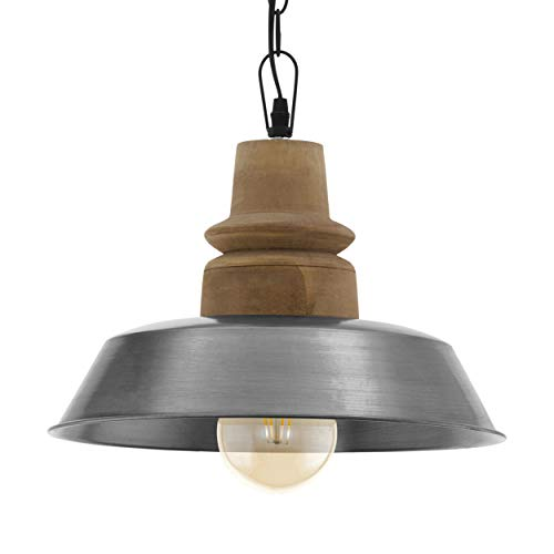 EGLO Lámpara colgante Riddlecombe, 1 lámpara de techo vintage, industrial, retro, lámpara de techo de madera y acero, lámpara de comedor, lámpara colgante en marrón, plata, negro, casquillo E27