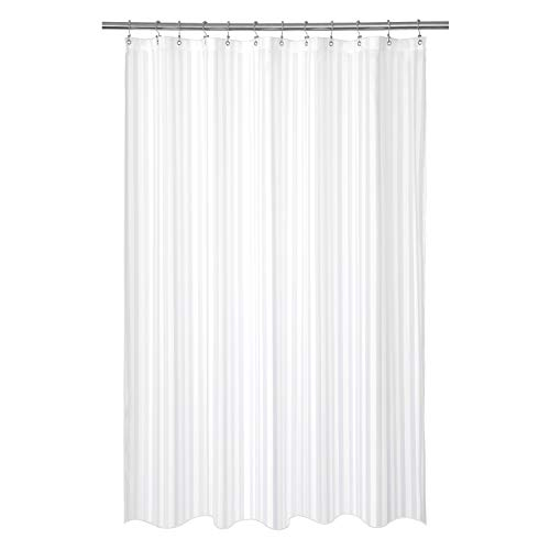 Barossa Design Waterproof Fabric Shower Curtain or Liner 78 inch Long Size, Machine Washable, Weighted Bottom, Hotel Style with White Damask Striped, 72x78 inches