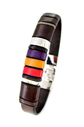 Pulsera cuero marrón, pulsera bandera republicana, accesorio de cuero para hombre, diseños exclusivos, joyería para hombre, pulsera república española